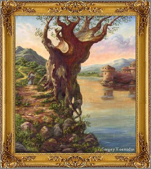Картина старое дерево у воды холст