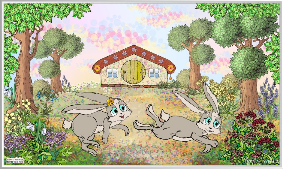 "Free print ""Adventures friendly bunnies"" for children's room"